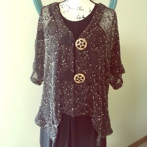 EUC cardigan to wear over black, beige, or tan.